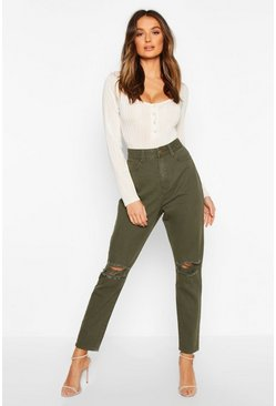 Khaki High Waist Distressed Mom Jeans