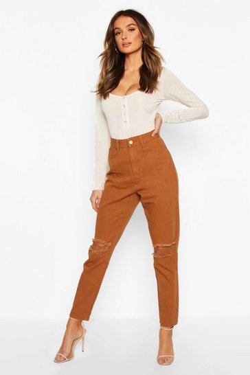 Womens Tan High Waist Distressed Mom Jeans