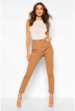 High-waisted Skinny Jeans, Lohbraun