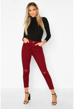 Berry Frayed Hem Distressed Skinny Jean