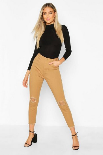 Tan Frayed Hem Distressed Skinny Jean