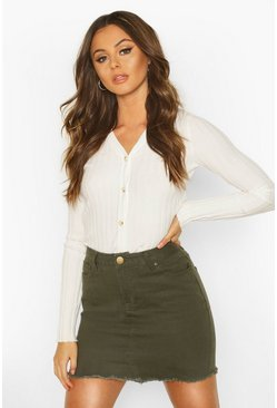 Dam Khaki Denim Frayed Hem Mini Skirt