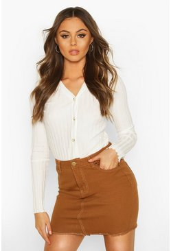 Tan Denim Frayed Hem Mini Skirt