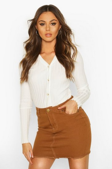 Womens Tan Denim Frayed Hem Mini Skirt