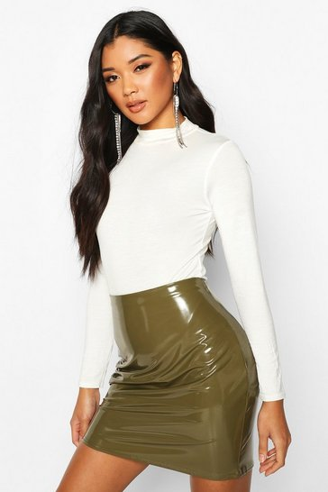 Womens Khaki Vinyl Mini Skirt