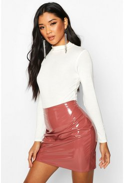 Rose Vinyl Mini Skirt