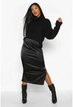 Womens Black Satin Split Side Midi Skirt