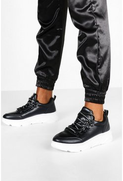 Womens Black Double Ring Lace Up Chunky Trainers