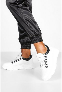 Womens White Double Ring Lace Up Chunky Trainers
