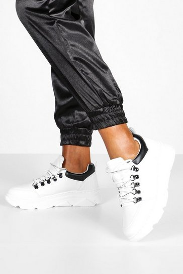 White D Ring Lace Up Chunky Trainers