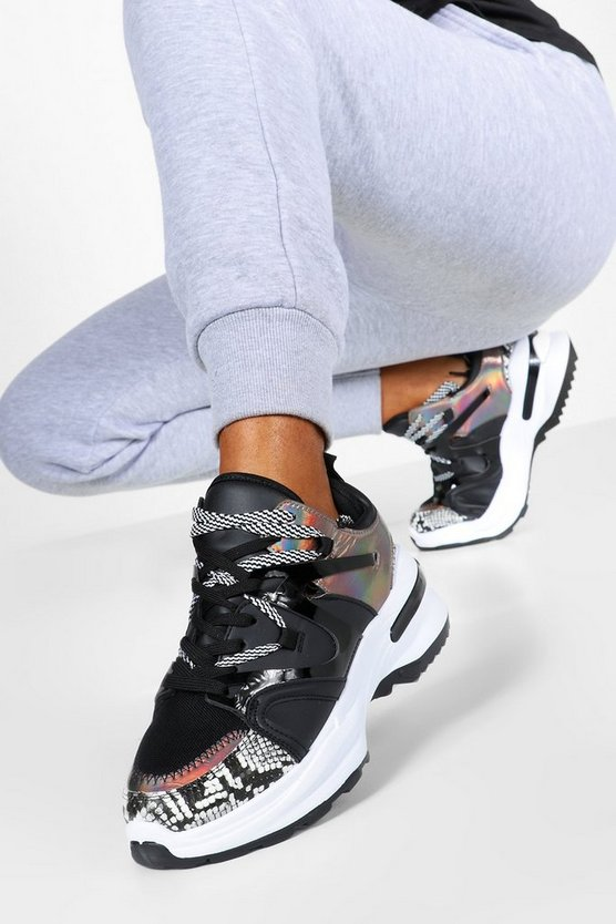 Double Lace Contrast Chunky Trainers