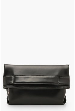 Womens Black Metallic Oversized Fold Over Clutch Bag