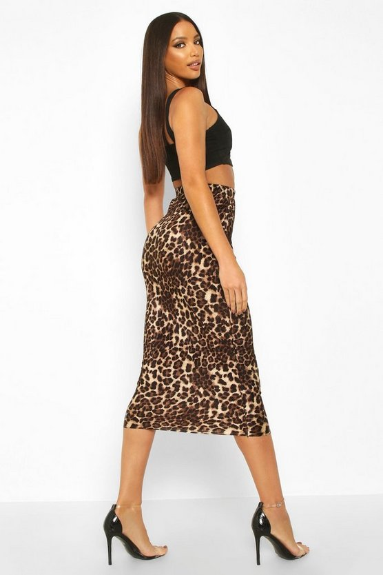 Leopard Plisse Midaxi Skirt