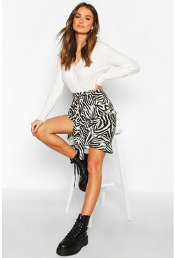 Dam Grey Ruffle Front Mini Skirt
