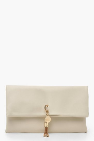 Womens Beige PU Fold Over Clutch & Metal Tassel Bag
