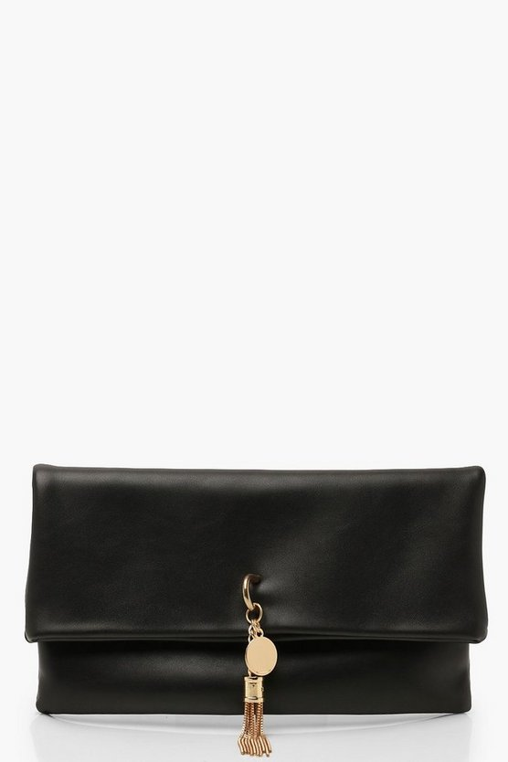 Womens Black PU Fold Over Clutch & Metal Tassel Bag