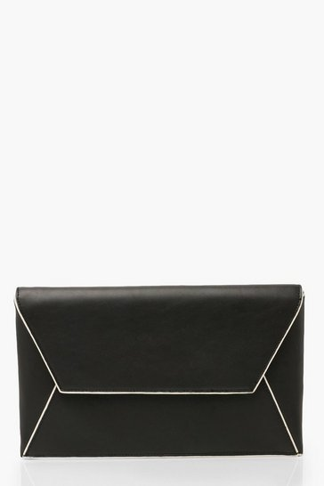 Womens Black PU Clutch Bag With Edge Detail