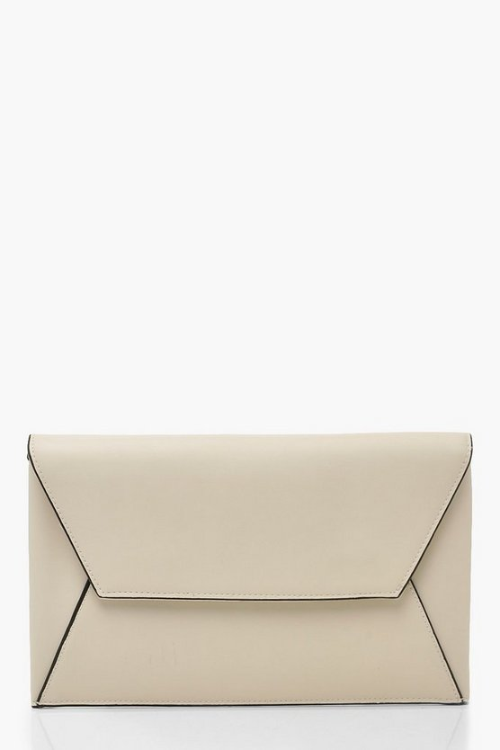 Ivory PU Clutch Bag With Edge Detail