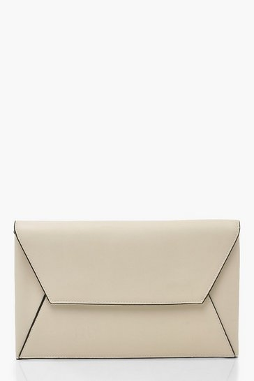 Womens Ivory PU Clutch Bag With Edge Detail