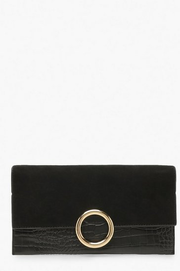 Womens Black Suedette & Croc Mix Ring Clutch Bag & Chain