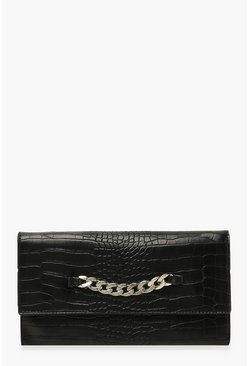 Black Chunky Chain Croc Clutch Bag