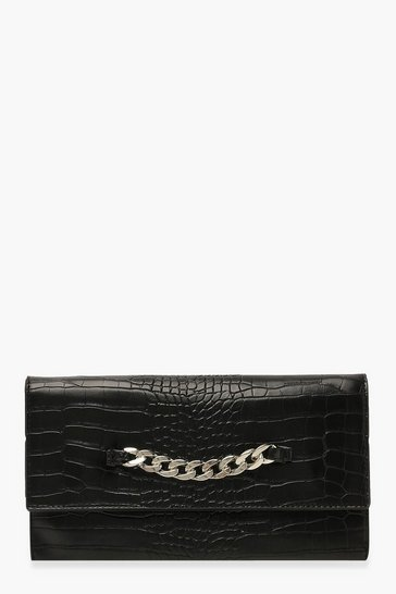 Womens Black Chunky Chain Croc Clutch Bag