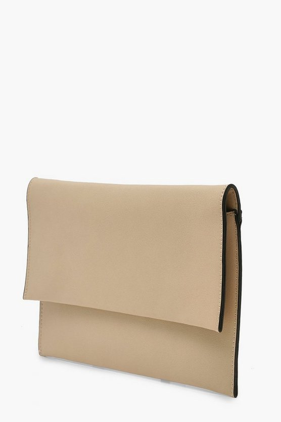 Oversized Fold Over PU Clutch Bag