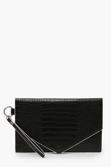 Womens Black Oversized Croc Clutch Bag With Edge Detail