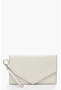 White Oversized Croc Clutch Bag With Edge Detail