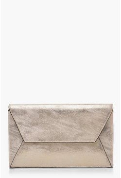 Womens Champagne Metallic Shimmer Edge Detail Clutch Bag & Chain