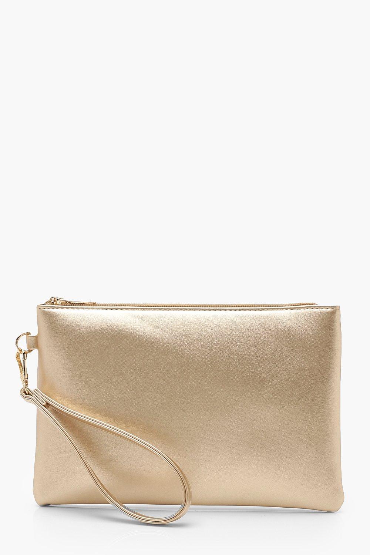 womens metallic smooth pu zip top clutch bag - metallics - one size