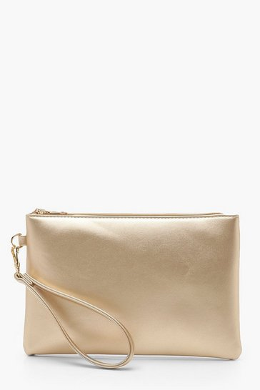 Gold Metallic Smooth PU Zip Top Clutch Bag