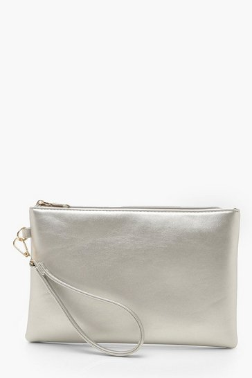 Womens Silver Metallic Smooth PU Zip Top Clutch Bag