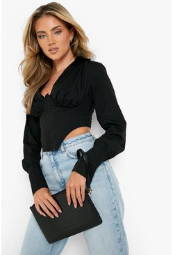 Womens Black Croc Zip Top Clutch Bag