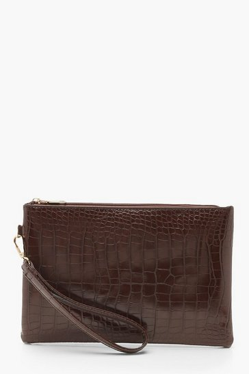 Womens Chocolate Croc Zip Top Clutch Bag
