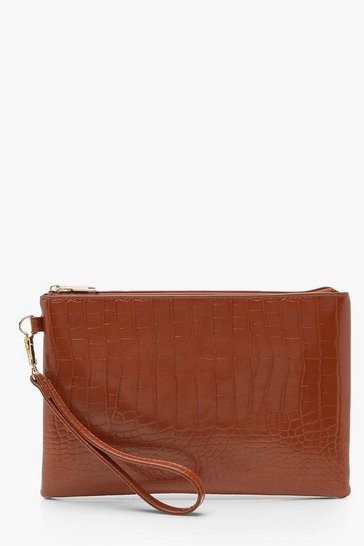 Womens Tan Croc Zip Top Clutch Bag