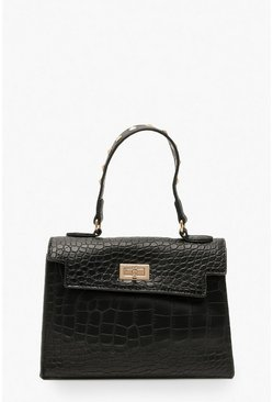 Black Stud Handle Detail Small Tote Bag