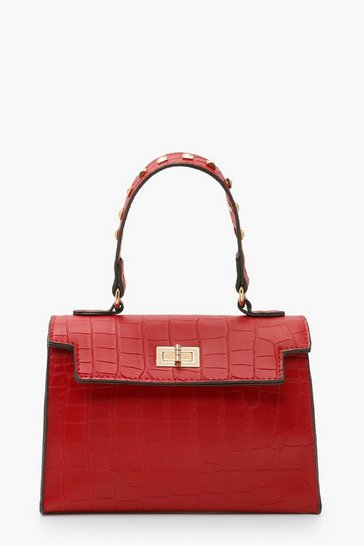 Womens Red Stud Handle Detail Small Tote Bag