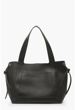 Womens Black Oversized Slouch PU Day Bag