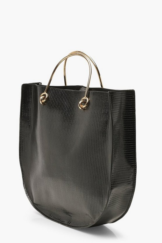 Lizard PU Metal Handle Day Bag