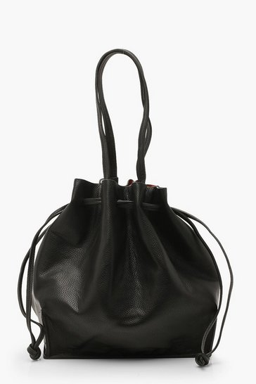 Womens Black Textured PU Oversized Tote Bag