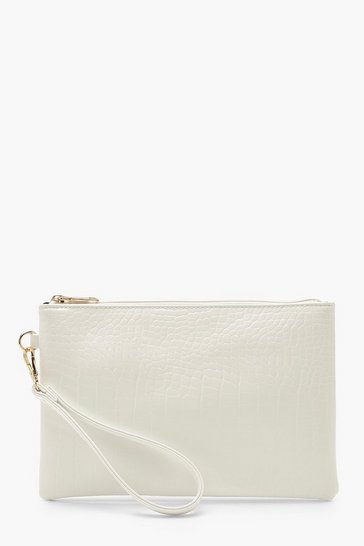 Womens White Croc Zip Top Clutch Bag