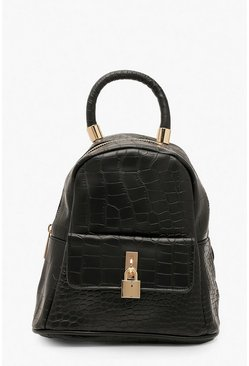 Womens Black Croc Lock Detail Rucksack