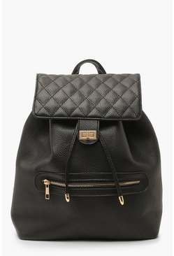 Dam Black PU Quilted Twist Lock Rucksack