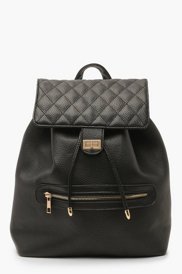 Womens Black PU Quilted Twist Lock Rucksack