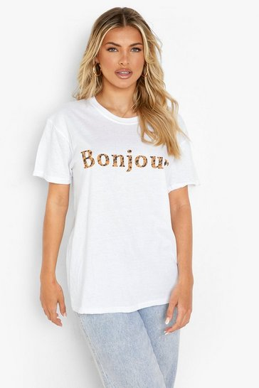 Womens White Leopard Bonjour Slogan T-Shirt