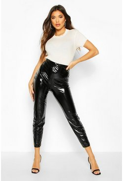 Womens Black Croc Vinyl High Waist Leggings