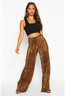 Womens Camel Snake Plisse Wide Leg Trousers