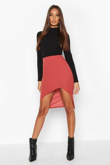 Womens Terracotta Ruched Side Split Front Midi Skirt