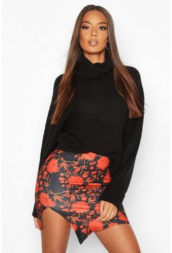 Womens Black Floral Asym Mini Skirt